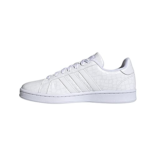 adidas Women's Grand Court Tennis Shoe, Core White/Core White/Grey, 8.5