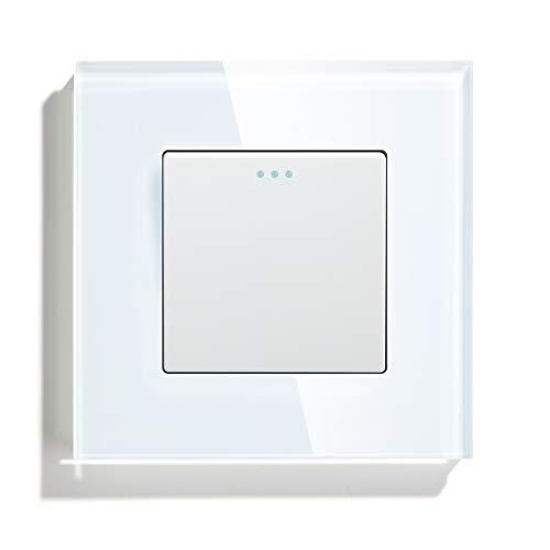 BSEED Interruptor de luz Interruptor de pared con Botón Pulsador Cruzado 1 Gang 3 Vías Panel de Vidrio 10A sin Tornillos Interruptor de Palanca Conmutable Blanco