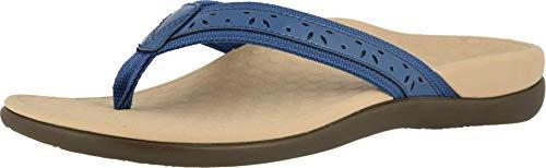 Vionic Women's Casandra Toe-post Sandal - Ladies Everyday Sandals with Concealed Orthotic Arch Support Indigo 7 Medium US
