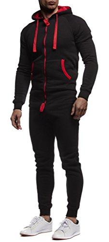 LEIF NELSON Herren Overall Jumpsuit Onesie Trainingsanzug, Schwarz-Rot - 3
