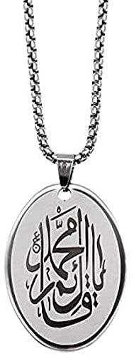 NC198 Collar de Acero Inoxidable con Escritura árabe gótica para Hombre, Etiqueta Ovalada para Mujer, Colgante de Estilo musulmán, Cadena de suéter, Regalo de joyería Unisex