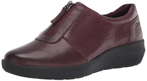 Clarks womens Kayleigh Sail Loafer, Burgundy Interest Suede Combi, 8.5 Wide US