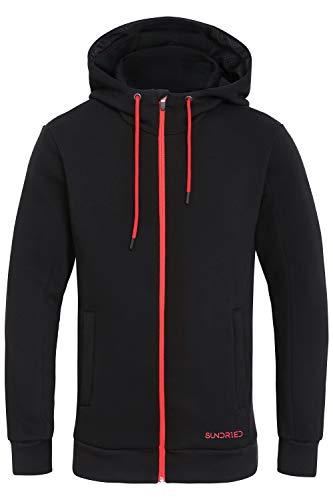 SUNDRIED Warm Zip Grueso de los Hombres Arriba Negro Mejor Sudadera con Capucha para el Entrenamiento de Invierno al Aire Libre (Schwarz, Small)