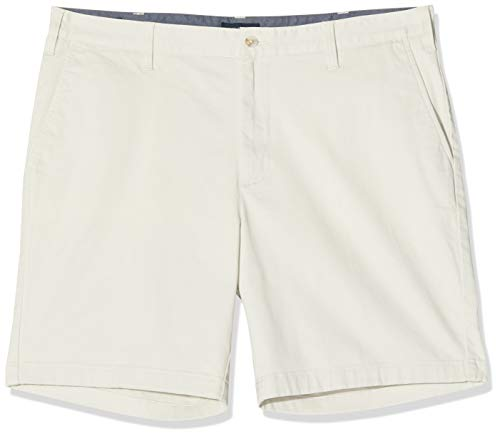 Nautica Men's Classic Fit Flat Front Stretch Solid Chino Deck Short, Stone, 38W