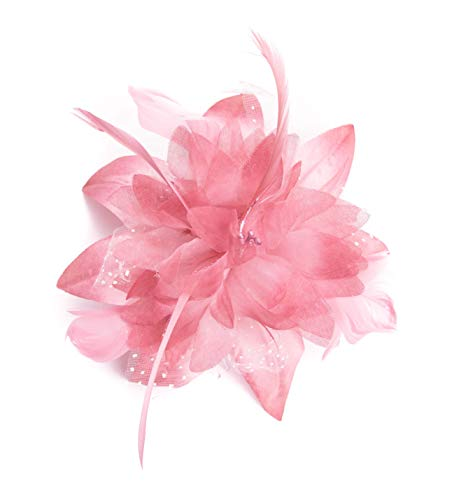 Allsorts Dusky Pink Feather Comb Fascinator Brooch Pin Ladies Day Royal Ascot Weddings by Allsorts Accessories