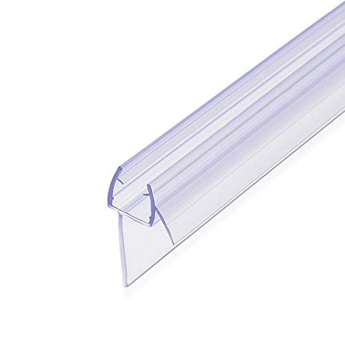 Navaris junta de recambio para ducha - Repuesto de PVC para puerta de cristal con grosor de 8MM con soporte de goteo en ángulo de 45 grados - 100CM