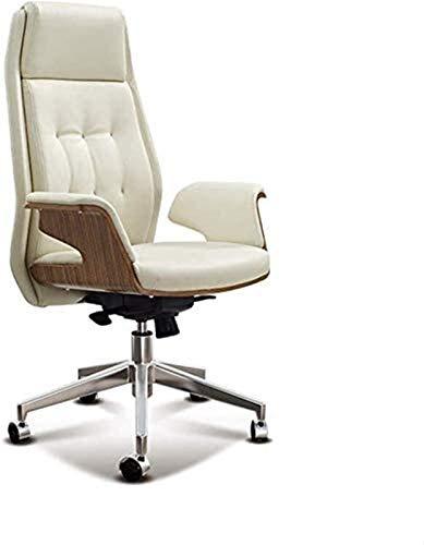 HMBB Sillas de escritorio, sillas de oficina de cuero, cómodas, ergonómicas, silla ejecutiva, para sala de reuniones y trabajo (color: blanco)