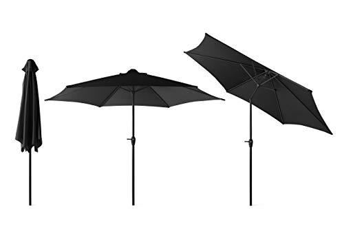 909 OUTDOOR Schwarzer Sonnenschirm für Garten und Terrasse Ø 300 cm, Verstellbarer runder Ampelschirm mit seitlichem Drehhebel, Gartenschirm aus Polyester und Stahl