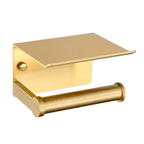 Portarrollos para papel higiénico, Soporte de Papel de Baño para Montaje en pared con Estante de Almacenamiento, Autoadhesivo 3M, Aluminio(Dorado)
