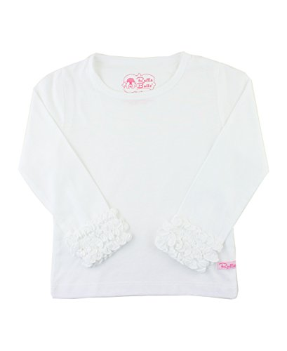 RuffleButts Little Girls Ruffled Long Sleeve Undershirt Tee - White - 2T
