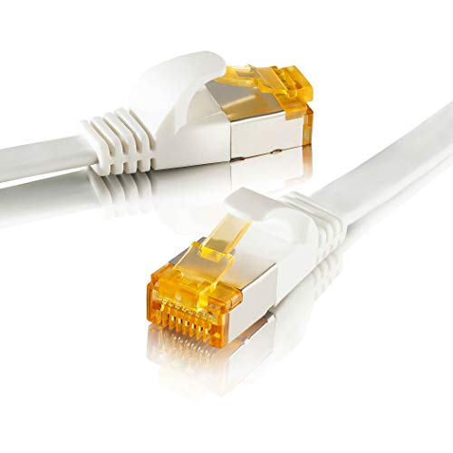 SEBSON Cable de Red Ethernet 7,5m Cat 7 Plano, LAN Patch Cable, 10Gbps, U-FTP apantallado, Conector RJ45 para Router, Ordenador, Módem, TV