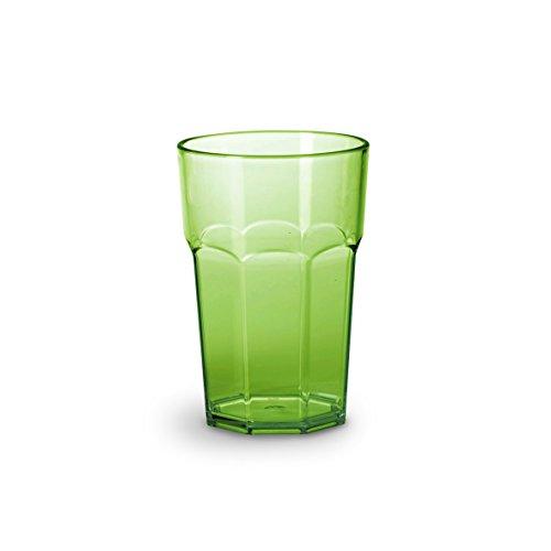 Omada Design Verre 42,5 cl et hauteur de 12,5 cm, en plastique incassable, empilable et allant au lave-vaisselle, Ligne Unglassy, Vert