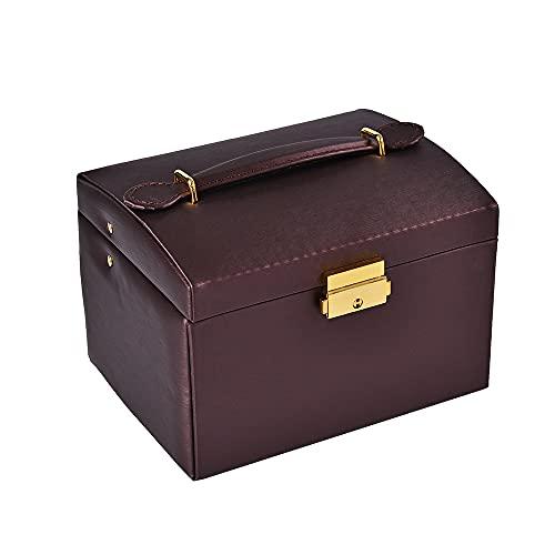 Caja de almacenamiento de joyería de mano para collar y oreja, multifunción, textura de color puro, portátil, de doble capa, de cuero, rojo, 18 x 13,3 x 13 cm