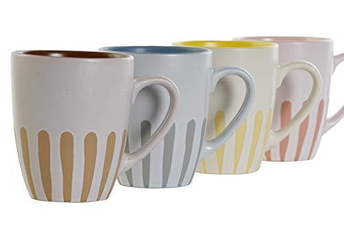 Preciosas Tazas de Cerámica de Color Pastel de Diseños Únicos para Desayuno Café con Leche Diseño Original y Moderno – 315ml - 1Unid. – 12x8,3x10cm. (Rosa)