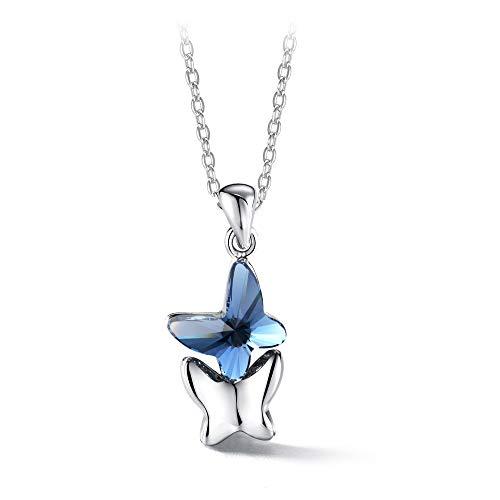 T400 Collar para Mujer Plata de Ley 925'Amantes Mariposas Colgante de Mariposa Hecho con Cristal de...