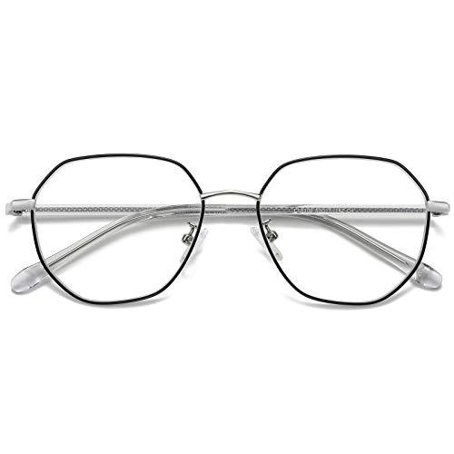 H HELMUT JUST Gafas Anti Luz Azul Hombre y Mujer Para Ordenador Gaming Hexagonal con Montura para Lente óptica