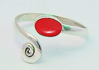 Red Coral Stone Toe ring 925 Solid Sterling Silver Girl Women Body Jewellery Adjustable Toe Ring