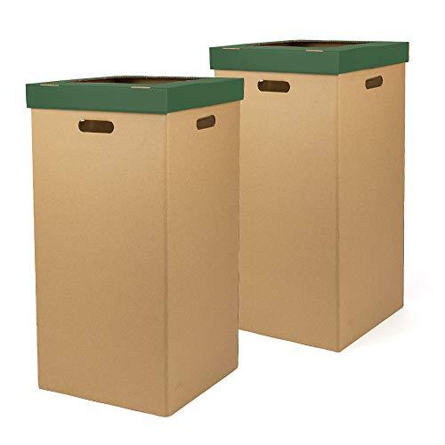 Kartox | Papelera de Cartón | Papelera con tapa | Color verde | Dimensiones 34,2 x 34,2 x 68 cm | Pack de 2 unidades