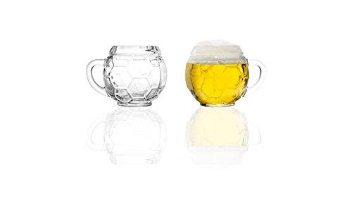 Stölzle Oberglas Fußball Bierkrug 0,4l - Original Fußballkrug, 2 Biergläser, Tradition, spülmaschinenfest, hochwertige Qualität