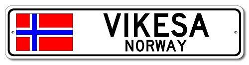Aersing Hochwertiges Aluminiumschild Vikesa Norwegen Norwegische Flagge Schild Norwegen Custom Flagge Schild Geschenk für Zimmer Wand Hof, Garage Zaun Gardern Dekoration