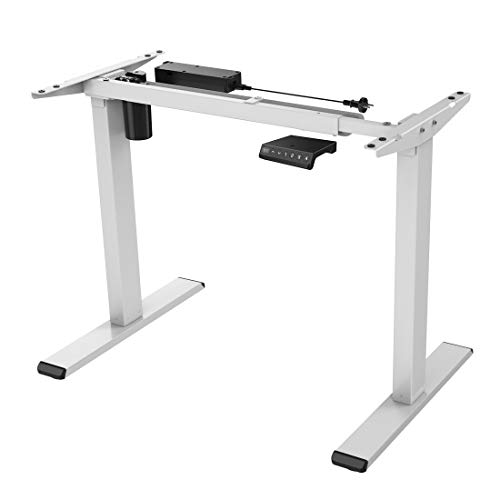 Flexispot E1W Höhenverstellbarer Schreibtisch Elektrisch höhenverstellbares Tischgestell 2-Fach-Teleskop, mit Memory-Steuerung (Weiss)