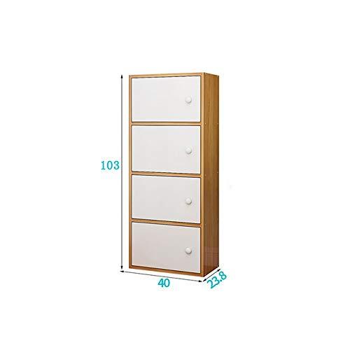 Caja de almacenamiento Gabinete de almacenamiento de madera de pera amarilla con puerta Librería moderna simple Gabinete de celosía de combinación libre Gabinete de almacenamiento de muebles económico