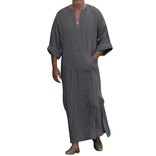 laamei Herren Kaftan Robes Ethnische Roben Baumwolle Leinen V-Ausschnitt Arab Nachtwäsche Indian Muslim Herrenhemd Lange Bademäntel Morgenmäntel