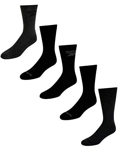 Reebok Men's Cushioned Comfort Athletic Performance High Crew Socks (5 Pack) (Grey Assorted, Shoe Size: 6-12.5)