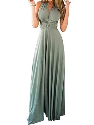 FANTASIEN Women's Transformer Infinity Bridesmaid Dress Evening Dress Multi-Way Wrap Convertible Halter Party Maxi Dress Grey Green