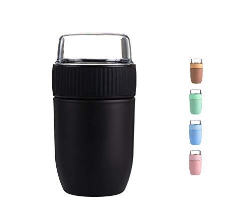 Coninx Bol Muesli a Emporter - Boite Yaourt Muesli - Bol à Céréales sans BPA avec Couvercle - Convient aux Petits et aux Grands - Capacité de 640 ml (Noir