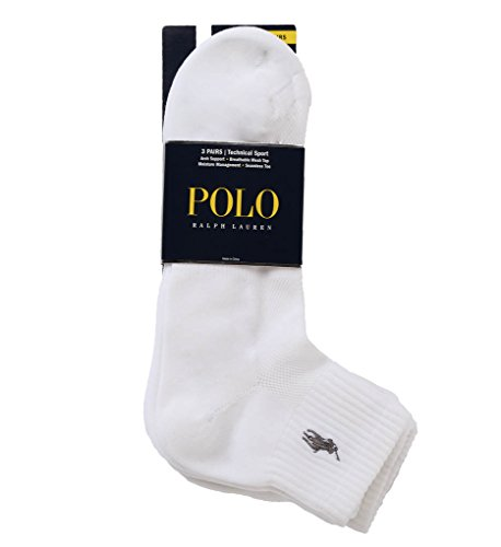 Polo Ralph Lauren 3er-Pack Tech Athletic Quarter mit Polospieler-Stickerei. - Wei� - Einheitsgröße