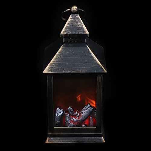 Happyyami Navidad Chimenea Linterna Navidad sin Llama Lámpara Eléctrica Vacaciones Mesa Linterna Noche Luz Estacional Escritorio Decoración