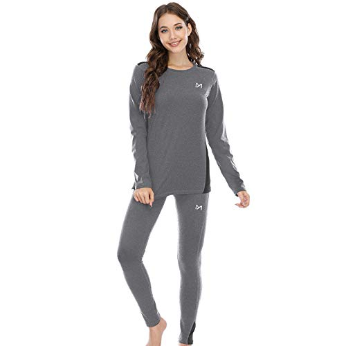 MEETYOO Conjuntos térmicos Mujer, Ropa Interior termica Invierno Base Layer Thermo Pantalones para Running Ciclismo Esquí (Gris, S)