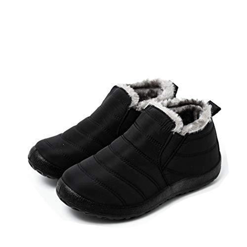 UMore Botas de Mujer 2020 Otoño Invierno Goma Encaje Forro de Piel Punta Redonda Botas de Nieve Zapatos de Trabajo Formal Calzado Antideslizante Ligero Botines Que Caminan