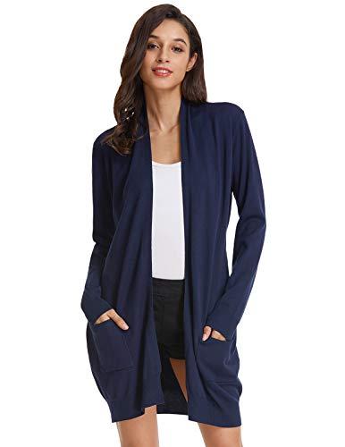 GRACE KARIN Damen Lange Strickjacke Langarm Offene Casual Strickmantel Herbst Cardigan mit Taschen L Navy Blau CLAF1003-3