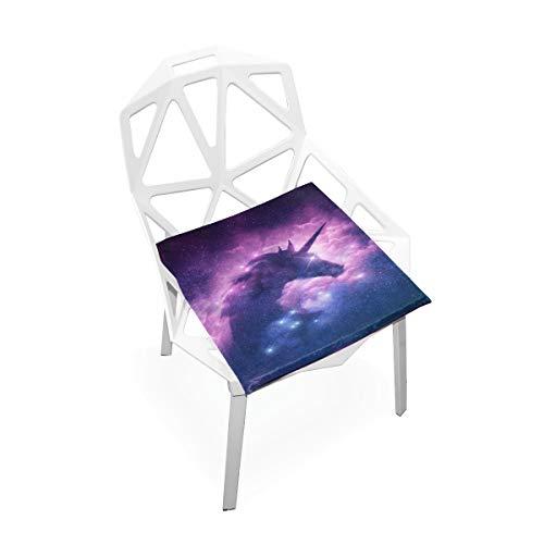 Cojín de silla suave Una silueta de unicornio en una nube de nebulosa de la galaxia Almohadillas de silla de espuma de memoria antideslizante suave Cojines Asiento para el hogar Cocina Escritorio de o