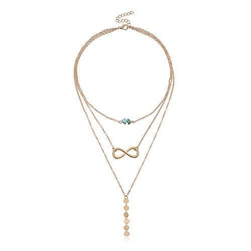 Long collier bohème multicouche avec pendentif turquoise pour femme - Cadeau chic et tendance - Doré