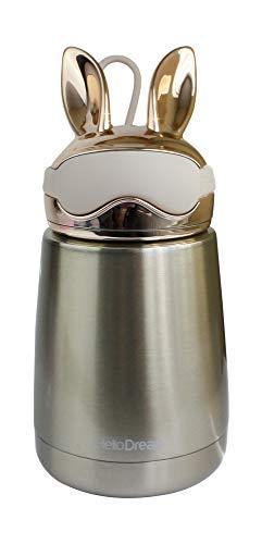Emartbuy 300 ml Coniglio Metallico Acciaio Inossidabile Assoluto Isolamento Termica Caldo Freddo Borraccia Bottiglia d'Acqua a Prova di Perdite Bambini Carina Cool - Oro