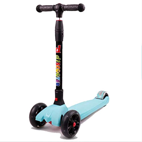DYX Stunt Scooter, Vespa para niños 3-6-14 años de Edad, niño, Cuatro Ruedas, Flash, un botón, Plegable, Patinete, Diapositiva, Juguete (Color : Sky Blue)