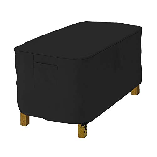 Rectangle Ottoman Cover 12 Oz Waterproof - 100% UV & Weather Resistant Outdoor Ottoman Cover with Air Pockets & Drawstring for Snug Fit (22\