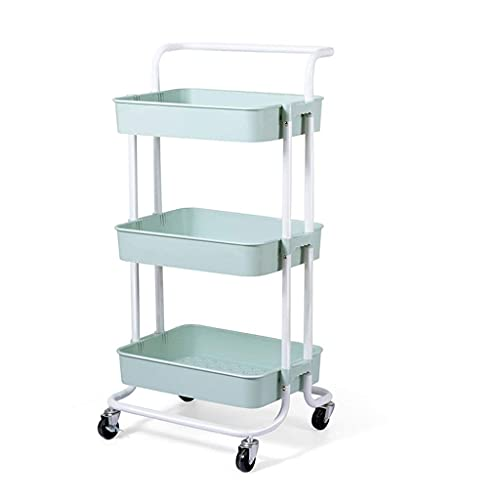 GAXQFEI Foyer Rack 3 Tiers Rolling Utility Cart, Mobile Organizer Shelves with Wheels and Handles Bathroom Office Classroom Storage Trolley for Storage,a,42 * 36.5 * 87Cm
