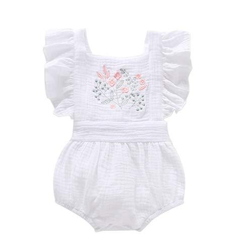 LEXUPE Neugeborenes Baby Mädchen Stickerei Blumen Rückenfrei Strampler Bodysuit(Weiß,90)
