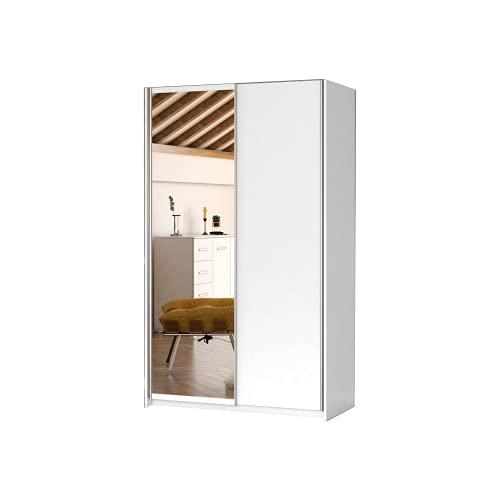 Kleiderschrank Schwebetürenschrank mit Spiegel 2-türig Schrank mit Einlegeböden und Kleiderstange Gaderobe Schiebtüren BxHxT 120x200x55 PAXO 120 Weiß, 120x55x200