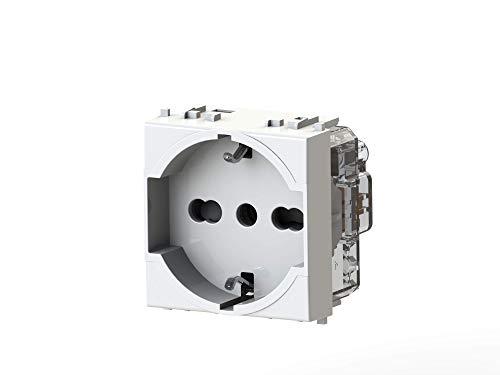 4box Presa elettrica schuko tipo P40 compatibile con Vimar Plana, Bianco