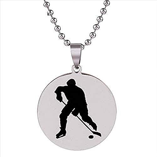 YOUZYHG co.,ltd Collar con Colgante de Jugador de Hockey, Colgante de Acero Inoxidable de Hockey sobre Hielo, joyería Deportiva, Cadena de Plata, Regalos para el Padre