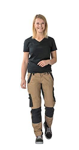 Planam Norit Damen Bundhose, Farbe: Sand/Schwarz, Größe: 38