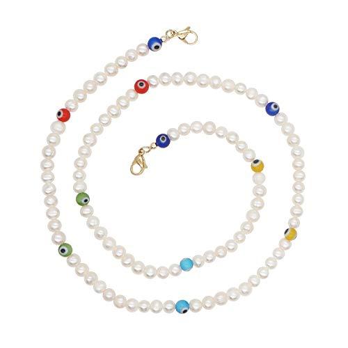 CHIY-GBC Irregular Perla Natural turca Mal Ojo Cuentas Pulsera Larga Cadena Collar para Las Mujeres niñas joyería de Moda
