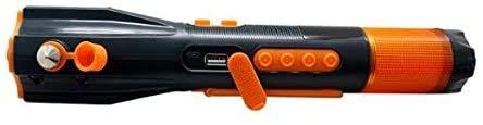 W'rangal 9 en 1 Multifunción de emergencia de emergencia de seguridad de rescate herramienta de seguridad martillo, cortador de cinturón de seguridad, lámpara LED, brújula, radio FM / AM, base magnética y linterna para automóviles, hogar, camping, viaje, senderismo y pesca
