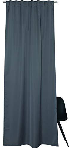 ESPRIT Schlaufen Vorhang dunkelgrau Blickdicht • 2er Set Gardinen Vorhang 130 x 250 cm • Vorhang mit verdeckten Schlaufen Rias • Kunstfaser