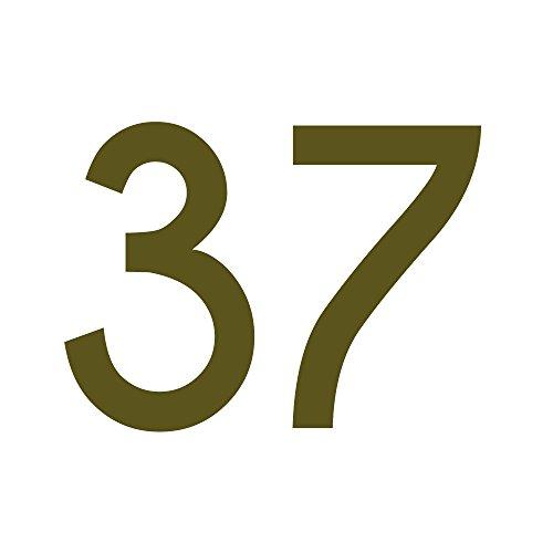 Zahlenaufkleber Nummer 37, Gold, 10cm (100mm) hoch, Aufkleber mit Zahlen in vielen Farben + Höhen, wetterfest